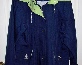 Vintage Ladies Navy Blue & Green Hooded Windbreaker Jacket by Mackintosh Medium Only 12 USD