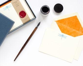 Letterpress and Foil Dragonfly Correspondence Card Sets