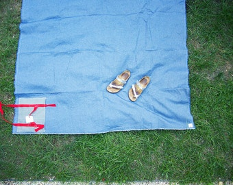 Picnic Blanket Cotton Denim Dot with Pocket and Twill Carry Ties