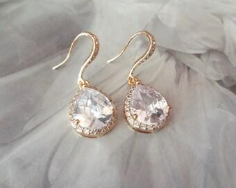 Cubic Zirconia earrings, Clear teardrop wedding earrings, 14k gold over Sterling ear wires, Brides earrings, High end, Bridesmaids gifts