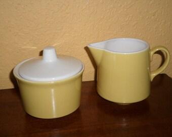 Mid Century/USA/RESTAURANTWARE/Yellow Set/Creamer Sugar/Vintage/Perfect