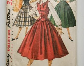Simplicity 1259 Pattern Jr Misses Blouse & Weskit, Size 12