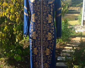 1970s Vintage Full Length Gown Greek Embroidered Dress M Navy Blue and Gold