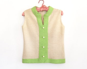 Vintage 1960s Sleeveless Knit Top / 60s Cream and Lime Green Textured Blouse / Small