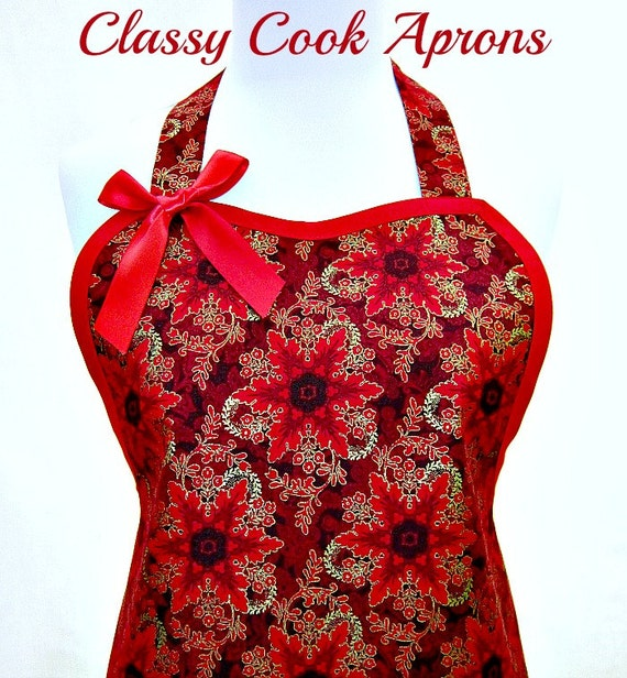Christmas Apron GOLD Snowflakes on RED, Holiday GLAMOUR Hostess Pretty Cocktail Party Kitchen Gift