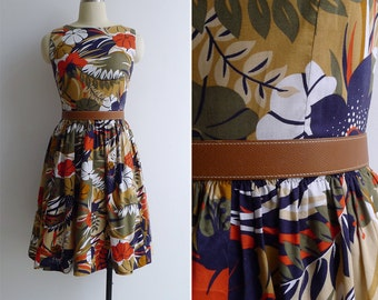 Vintage 60's 'Flora & Fauna' Fit And Flare Cotton Dress XS or S