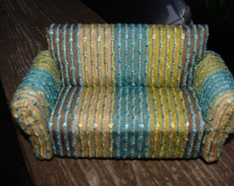 Dollhouse Sofa, Cozy and Fresh, Teal, Lime, Brown