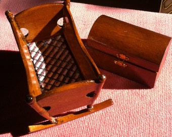 Rustic Cradle & Toy Chest For Dollhouse, 2 Nursery Pieces