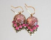 Wedding Earrings, Handmade with Vintage Jewelry, Vintage Wedding Jewelry, Vintage Earrings, Pierced Earrings, Drop Earrings, Fire Opals
