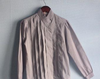 Vintage Shirt Grey Pleated 80s