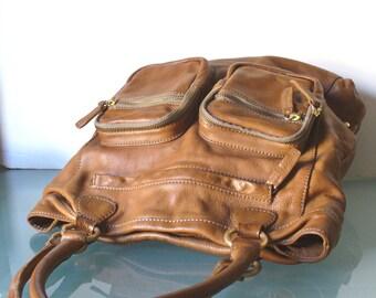 J Crew Caramel Leather X Large Tote Bag