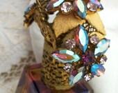 Vtg PURPLE ~ Irice ~ Rainbow Perfume Bottle ~ RHINESTONES ~ Filigree Flower Basket ~ Germany ~ Hand-cut Crystal ~ Rare Vanity Decor HTF