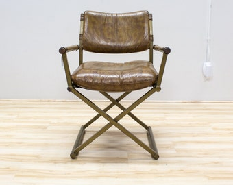 Safari or Directors Vintage Accent chair, Brown Vinyl, Wood and Brass