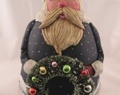 Santa Claus Gourd with Holiday Wreath Christmas Decoration Holiday Ornament