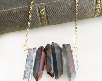 Titanium Quartz Necklace Ombre Purple Gray Layered Necklace Gold Silver Chain Wire Wrapped Gemstone Birthstone Raw Crystal Ice Berg Arrow C1