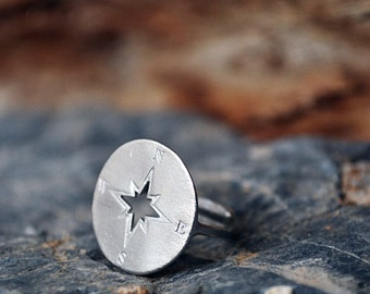Compass Ring / Compass Rose / Compass Jewelry / Chevalier Ring /  Statement Ring / Adjustable Ring / Graduation Gift / Gifts for Women