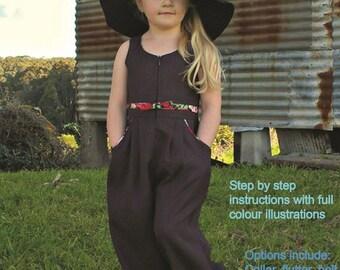 Girls PDF pattern, BB's Jumpsuit, Sizes 2 - 8, instant download