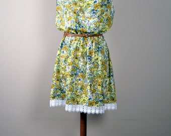 Floral dress, tunic dress, bohemian dress, yellow dress, cotton dress, mini dress, boho dress, romantic clothing