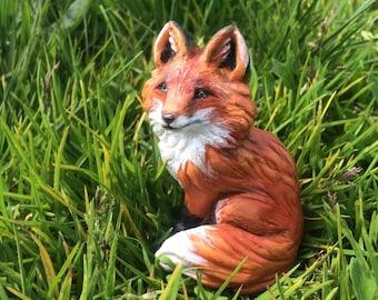 Fox MADE to ORDER Ooak polymer clay sculpture Red fox art doll Miniature animal figurine Handmade figure Totem Wolf Dog Husky