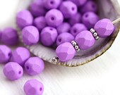 30pc Lilac beads, Purple, Special coating, Fire polished 6mm round beads, czech glass spacers, faceted - 1839