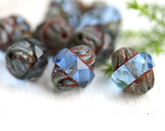 8pc Sapphire Blue Turbine beads, Picasso Czech glass beads, fire polished, bicone, faceted - 11x10mm - 2668