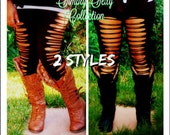 Legging Collection, Festival leggings, Womens Leggings, Long tights, Shredded,Cut Leggings, Plus Size, Black Cut Leggings, tights,Yoga Pants