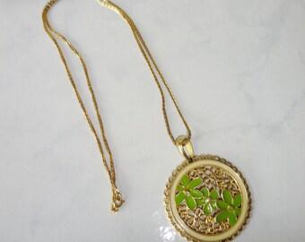 Vintage Pendant Necklace Green Floral Enamel Gold Tone Round Pendant