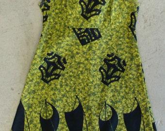 """mod 60's TOHKI HAWAII MINI dress green black pique xs 33"""" bust"""