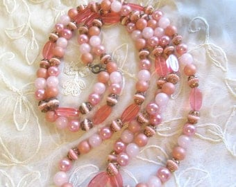 """1960's Long Necklace Beads Peach Pink 56""""Flapper Length Great Gatsby Vintage Costume Jewelry Party 1920's  MoonlightMartini"""