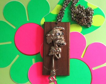 Beatnik Necklace Cool Daddio 1950's -60's Wooden Articulated Pendant Hep Cat Kitsch Vintage Costume Jewelry Collectibles Stage  Accessories