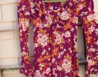 70s Hippy Maxie dress by Put On Groovy Dress 70s Long Dress Long sleeves Boho  of California Soft Comfy