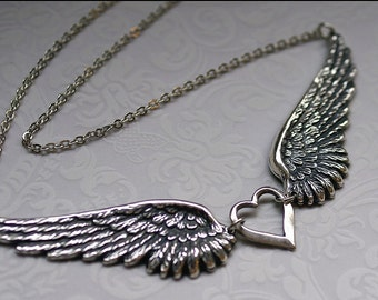 Angel Wing Jewelry-SILVER WING NECKLACE- Remembrance Jewelry, Silver Wing Pendant Necklace, Gorgeous Gift for Her, Mom, Sister, Daughter
