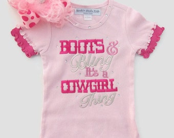 Pink and Hot Pink Ruffle Tee Boots & Bling It's a Cowgirl Thing girls clothing, western tee, cowgirl tee, rodeo tee, Birthday tee, cowgirl