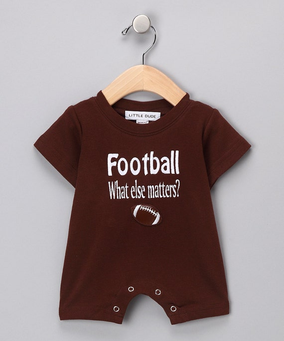 Brown Little Boy s Romper Football What Else Matters baby