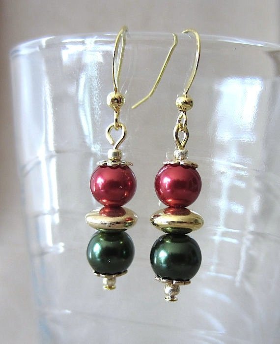 Red, Green, Gold Glass & Pearl Handcrafted Christmas Earrings, Handmade Original Fashion Jewelry, Festive Holiday Elegant Custom Ladies Gift
