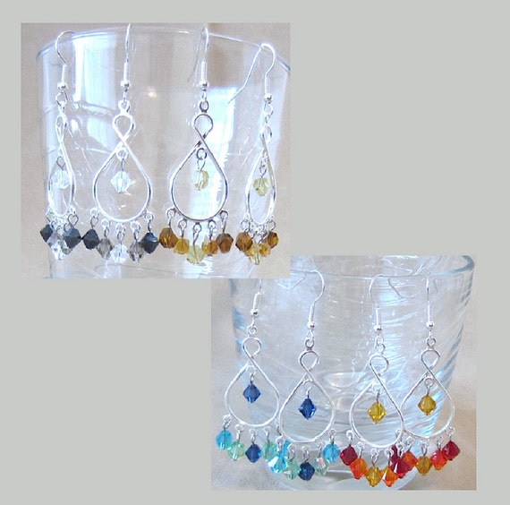 Tri-Color Crystal Silver Handcrafted Chandelier Earrings, Handmade Original Fashion Jewelry, Exotic Style Mediterranean Inspired Ladies Gift