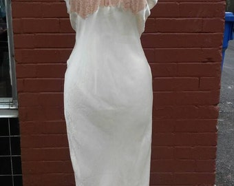 1930's cream silk night gown