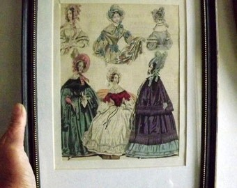 The World of Fashion and Continental Feuilletons, magazine, 1836, hand tinted, Fashion illustration, framed, original, not a reprint