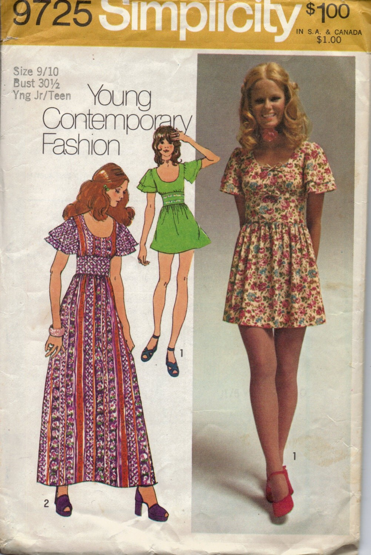 Vintage 1970s Baby Doll Dress Pattern Juniors Mini Dress
