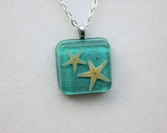 Beach Jewelry, Starfish Jewelry - Teal Real Starfish Embedded Resin Pendant, Real Starfish Necklace
