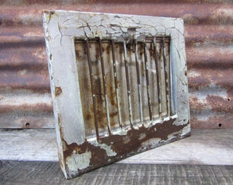 Antique Metal Heating Duct Cover Painted Chippy Silver Chipping Industrial Register Plate Ornate Iron Metal Architectual Item Heating Grate