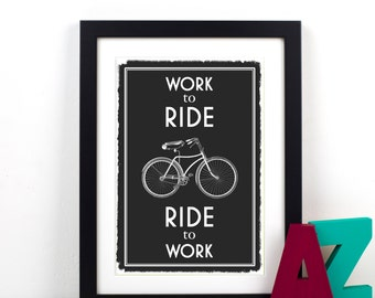 Bicycle Print, Quote Print, Art Print, Bike Poster, Cyclist, Black and White, Bicycle Gift, Cycling, Bicycle Poster, Inspirational Art, Bike