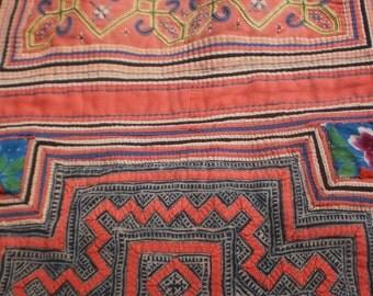 Indigo Batik And Applique Vintage Hmong Baby Carrier
