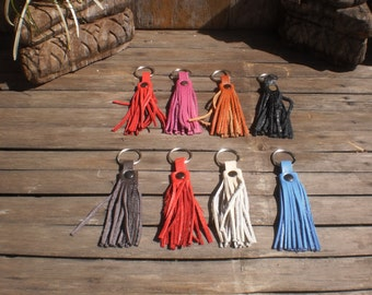 Set Of 8 Up Cycled Leather Key Chain Tassels Mix Color