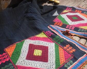 Vintage Black Hmong Folk Art Textile
