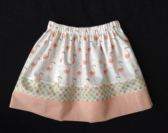 SALE: Flamingo, teal and peach Skirt, Size 6, Ready to Ship, Easter, Spring, Summer