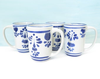 Set of 4 Handpainted Blue and White Mugs Made in Mexico