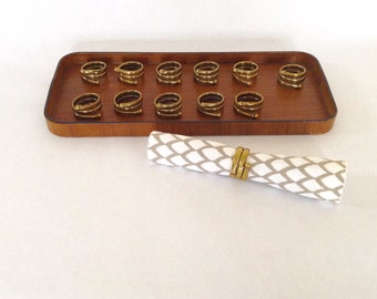 Vintage Brass Napkin Rings, set of 6  *Free Shipping*