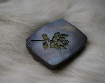 Pierced and Felted Hollow Copper Succulent Brooch