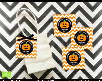 Pumpkin Favor Tags - Halloween Thank You Tags - Halloween Favor Tags - Halloween Pumpkin Gift Tag - Digital & Printed